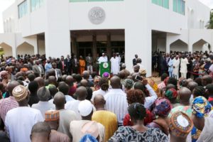 President Buhari addressing workers of State House