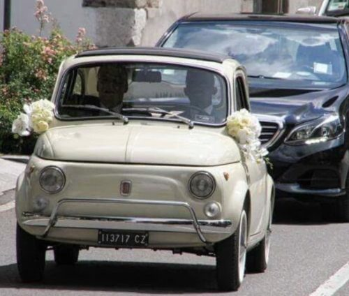 Eto'o driving himself to the church in a vintage Fiat 500