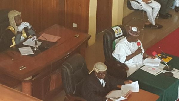 Yahaya Bello addresses the state assembly