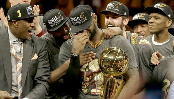 LeBron James with the trophy