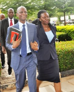Mrs and Mr Azibola on arrival in court