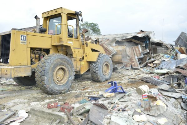 On going demolition of Cultists hideout at Rumuolumini, Obio/Akpor Local Government Area on Tuesday