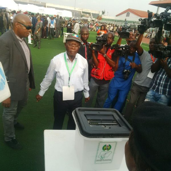Governor Adams Oshiomhole after casting his ballot