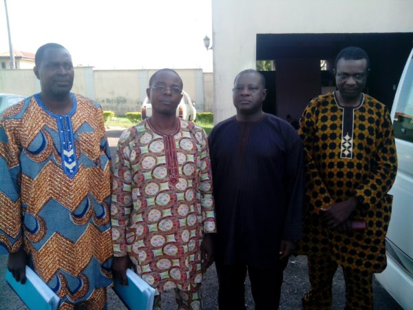 File Picture: From right, Prof. Benjamin Ogunbodede. Jalekun Omitowoju. Zacceaus Tejumola and Adenose Clement, when they were arraigned on October 30, 2014.
