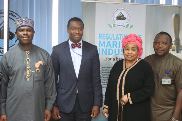 L-R: Director General, Nigerian Maritime Administration and Safety Agency (NIMASA) Dr. Dakuku Peterside, Lagos President of the Information Systems Audit and Control Association (ISACA) Mr. Tope Aladenusi, Head, Corporate Communication, NIMASA, Hajia Lami Tumaka and the Head, Internal Audit of the Agency, Mr. Victor Onuzuruike when the ISACA group paid a courtesy visit to the Agency recently.