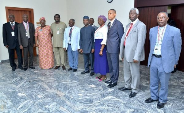 Vice President Prof. Yemi Osinbajo (SAN) in a group photograph with Pastor W. Kumuyi, his wife Pastor Mrs. E. Kumuyi and his entourage during a courtesy visit at the Presidential Villa. Fourth from left is Mr Femi Adesina, Special Adviser, Media and Publicity, to President Muhammadu Buhari.