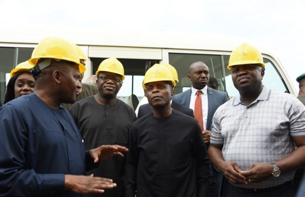 R-L: Lagos State Governor, Akinwunmi Ambode, with Vice President, Prof. Yemi Osinbajo; Minister of Solid Minerals, Dr. Kayode Fayemi; Minister of Finance, Kemi Adeosun and President, Dangote Group; Alhaji Aliko Dangote during the Vice President's inspection visit to the Dangote Refinery at the Lekki Free Trade Zone, Lagos, on Saturday, June 25, 2016.