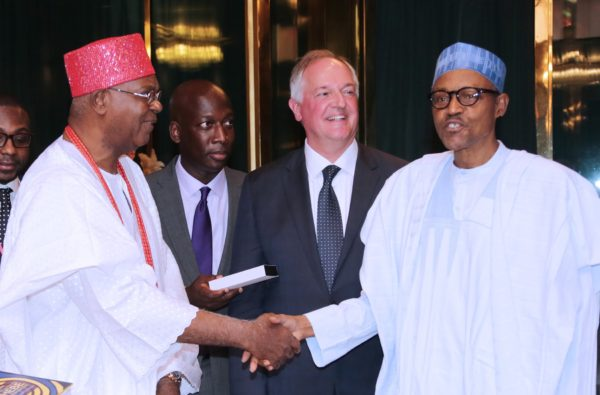 R-L; President Muhammadu Buhari, Global CEO of Unilever, Mr Paul Polman, Managing Director Unilever Nigeria, Mr Yaw Nsarkoh and Chairman Unilever Nigeria, HRH Igwe Nnameka Alfred Achebe after an audience with the President at the State House in Abuja. Photo: Sunday Aghaeze