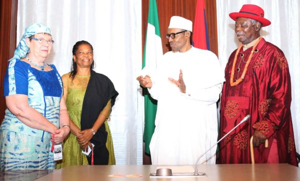 President Muhammadu Buhari (2nd) right, The Amanayanabo of Twon Brass HRH King Alfred Diete Spiff, Former Nigerian Ambassador to Ethiopia, Hon Nkoyo Toyo and Founder AA PeaceWorks, Chief Mrs Judith Burdin Asuni as President receives in audience Niger Delta Dialogue and Contact Group at the State House in Abuja. PHOTO; SUNDAY AGHAEZE. JUNE 30 2016