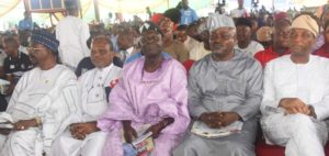 PIX 4793 R-L: Representative of Lagos State Governor, Secretary to the State Government, Mr. Tunji Bello; Speaker, Lagos House of Assembly, Rt. Hon. Mudashir Obasa; Chairman of the Occasion, Mr. Ayo Opadokun; former Military Governor of Lagos State, Rear Admiral Ndubusi Kanu (rtd.) and Senator Olabiyi Durojaiye during the 23rd Anniversary of June 12 with the theme Democracy and Inclusiveness: Basis for Good Governance, at the Blue Roof, LTV. Agidingbi, Ikeja, on Sunday, June 12, 2016.