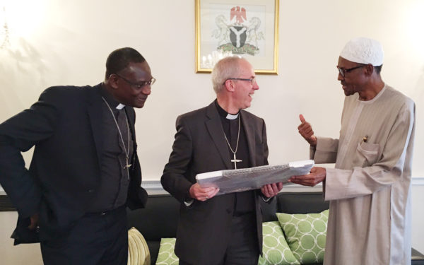 R-L: Buhari with Welby and Secretary General of the Anglican Communion Worldwide, Most Reverend Josiah Idowu Fearon