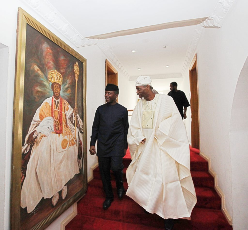 Vice President Prof. Yemi Osinbajo SAN paid a condolence visit to Prince Bola Ajibola former Attorney General and the Minister of Justice of Nigeria at his Abeokuta residence today.  Prince Ajibola, a former Nigerian attorney-general and justice minister  lost his wife  Olufunmilayo Janet Abeni  on the 8th of June 2016 .   Mrs Ajibola died in London and was buried on Friday 24 June at Richmond Cemetery,  Richmond.