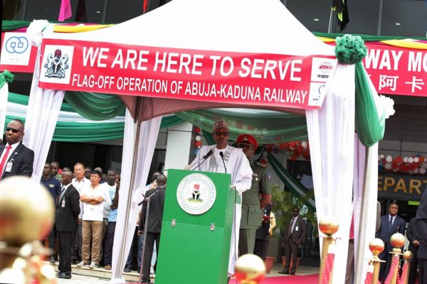 Buhari duing the flag-off