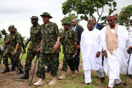 Buhari with the Army today