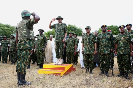 Buhari with the soldiers
