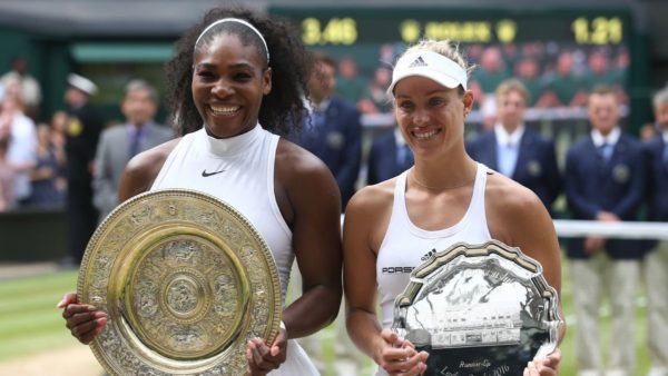 Serena Williams and Angelique Kerber at Wimbledon on Saturday