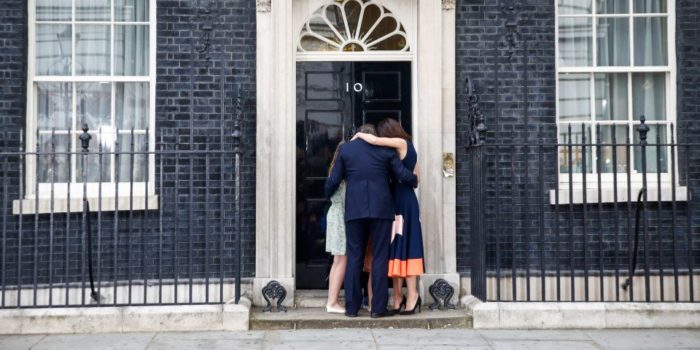 David Cameron's family in a group hug in front of 10 Downing Street today