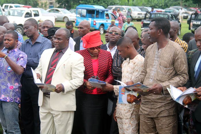 Dr Oby Ezekwesili with other sympathisers at the burial