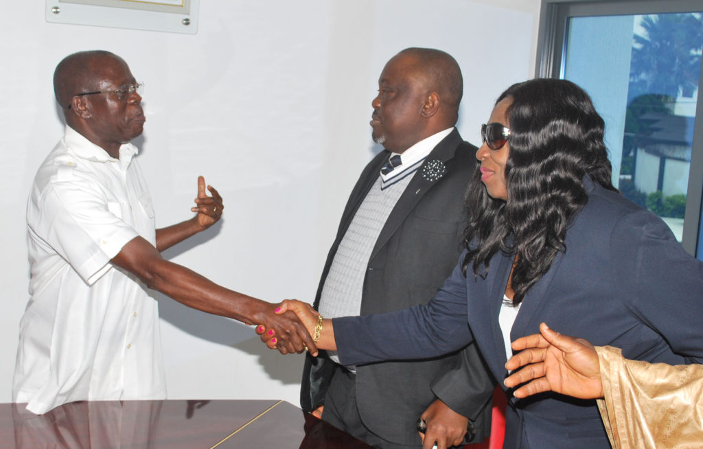 From left: Governor Adams Oshiomhole, Rt. Hon  Okonoboh, Speaker Edo State House of Assembly and Hon.  Ativie, Deputy Speaker, during a visit to the Governor to introduce the new leadership of Edo State House of Assembly to the Governor, on Monday.