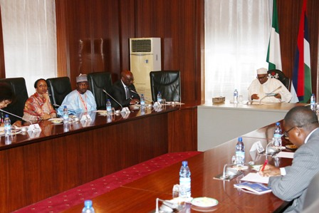 R-L; President Muhammadu Buhari, Former President ADB and Special Envoy African Union Peace Fund, Dr Donald Kaberuka, African Union Senior Scientific Officer Coordination, Dr Mohammed Kyari and Ms Wanjiru Nwaura during an audience with the President at the State House in Abuja.