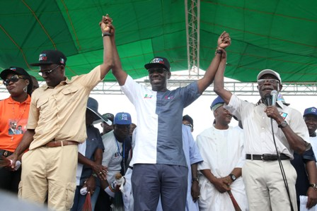 From left: Hon Philip Shaibu, APC gubernatorial running mate, Mr Godwin Obaseki. APC Gubernatorial candidate and Governor Adams Oshiomhole at the flag-off of the gubernatorial campaign of the All Progressives Congress for the September 10 election in the state, at the Samuel Ogbemudia Stadium, Benin City, on Saturday.