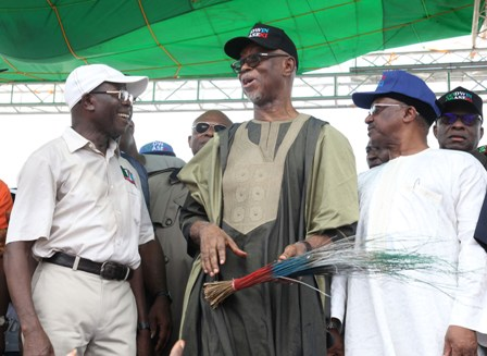 From left: Governor Adams Oshiomhole, Chief John Odigie-Oyegun, APC National Chairman and Dr Osagie Ehanire, Minister of State for Health at the flag-off of the gubernatorial campaign of the All Progressives Congress for the September 10 election in the state, at the Samuel Ogbemudia Stadium, Benin City, on Saturday.