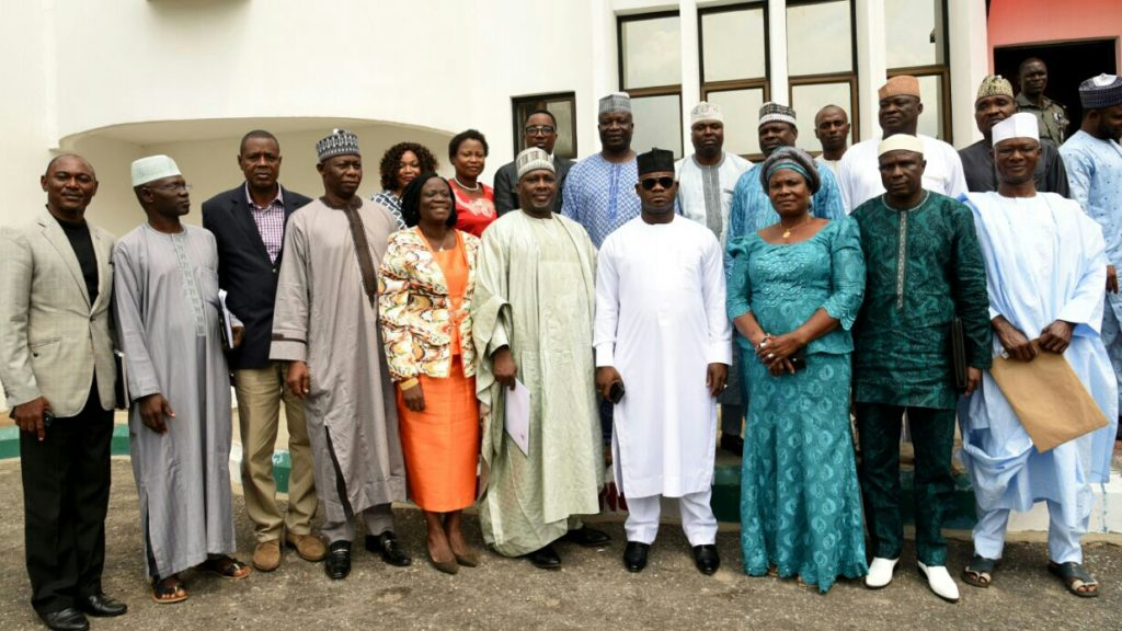 Gov. Bello and heads of higher institutions after a closed door meeting over the lingering strike by teachers  at Government House, Lokoja on Monday. Standing in the middle is Gov. Yahaya Bello. On his left is his Deputy, Elder Simon Achuba; the Acting Head of Service, Mrs Kehinde Lawal; and the Vice Chancellor, Kogi state University, Professor M.S Abdulkadir