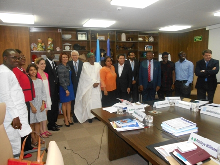 Minister of Information and Culture, Alhaji Lai Mohammed, leading his delegation to a meeting with the UN World Tourism Organization, led by its  Secretary-General, Mr. Taleb Rifai, in Madrid, Spain, on Tuesday (July 26th 2016)