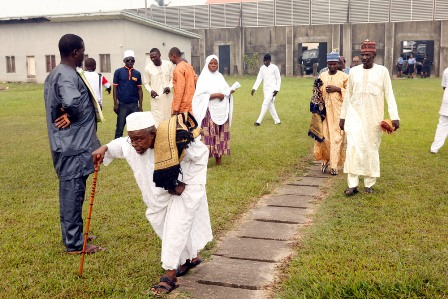 Muslim faithful walking to the prayer ground to offer prayers to God during the 2016 Eid-el-Fitri celebration at Obalende