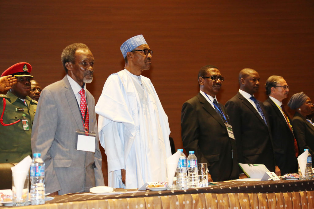 L-R;   Chief of Nigeria, Hon Justice Mahmud Mohammed, President Muhammadu Buhari, Chairman of the Presidential Advisory Committee on Corruption, Professor Itse Sagay, Minister of Justice and Attorney General of the Federation, Mr Abubakar Malami, President Commonwealth Judges and Magistrate Association Canada, Justice John Vertes others to the opening of a workshop on the Role of Judges in the fight against corruption organised by Presidential Advisory Committee Against Corruption, European Union, Commonwealth Secretariats, United Nations on Drugs and Crime and National Judicial Institute held at the institute in Abuja. PHOTO: By SUNDAY AGHAEZE. July 18, 2016,