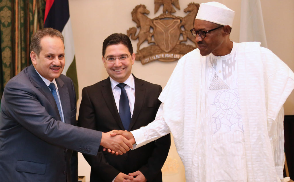 Buhari receives Moroccan envoy -L; President Muhammadu Buhari, Delegate to the Minister of Foreign Affairs and Cooperation, and Moroccan Special Envoy. H.E. Nasser Bourita, Director Yassine Mansouri during an audience with the President at the State House in Abuja. PHOTO; SUNDAY AGHAEZE. JULY 14 2016