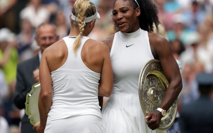 Serena Williams and Angelique Kerber after their ladies singles final
