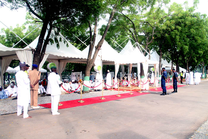 The new VIPs portion of the prayer ground, complete with canopies, fans and well armed security operatives for comfort and security