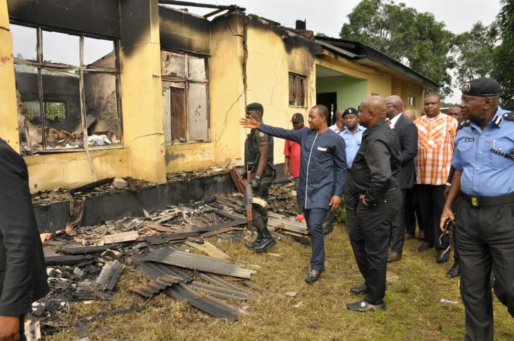 Rivers State Governor, Nyesom Ezenwo Wike  (in black) during inspection of the Burnt INEC Office in Bori on Saturday.
