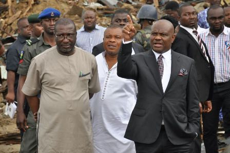 Wike inspecting one of the demolished criminals' hideouts