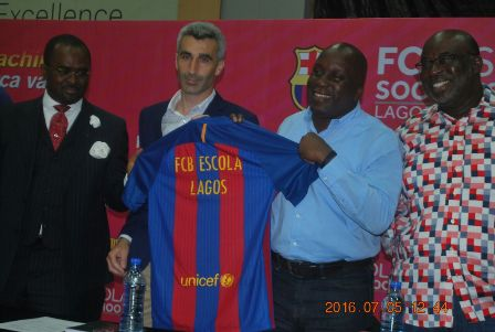 L-R Blaugrana Sports International CEO, Mr. Leslie Oghomienor, Project Manager for FC Barcelona in Europe and Africa Football Schools, Inaki Gonzallo, Special Adviser on Sports to Lagos Governor, Mr. Deji Tinubu and Chairman of Lagos State Football Association, Mr. Seyi Akinwunmi during the unveiling of FC Bescola Soccer School at Teslim Balogun Stadium, Surulere recently.