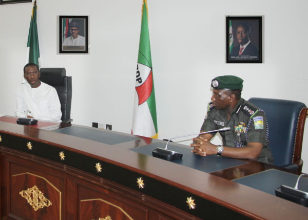 IGP Ibrahim Idris, in a round table discussion with Delta State Governor, Ifeanyi Okowa