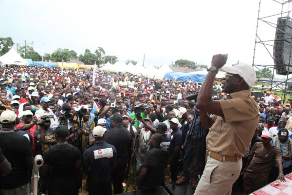 Governor Adams Oshiomhole addresses a rally of the All Progressives Congress (APC) during its gubernatorial campaign at Okada, Ovia North East Local Government Area, on Wednesday.