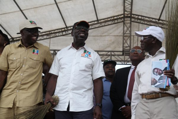 Mr Godwin Obaseki, Gubernatorial Candidate of the All Progressives Congress in Edo State flanked by Governor Adams Oshiomhole (right) and Hon Philip Shaibu, the APC gubernatorial running mate at the Edo Central campaign flag-off of the APC held in Irrua, weekend.