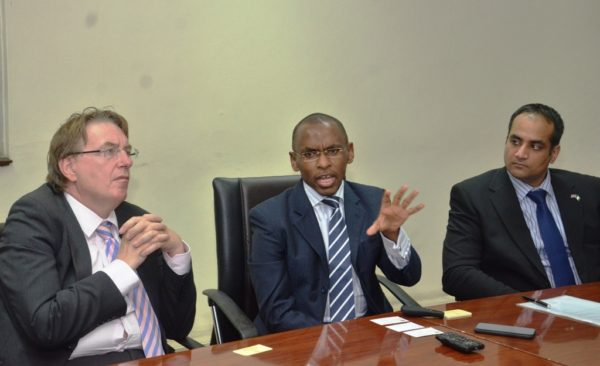 L-R: Prime Minister's Trade Envoy to Nigeria, Hon. John Howell; Managing Director/CEO, Guinness Nigeria, Mr. Peter Ndegwa and Acting Deputy British High Commissioner, Bashir Ahmed during the envoy's visit to Guinness Nigeria Plc's Ogba Brewery, Lagos which took place at the weekend.