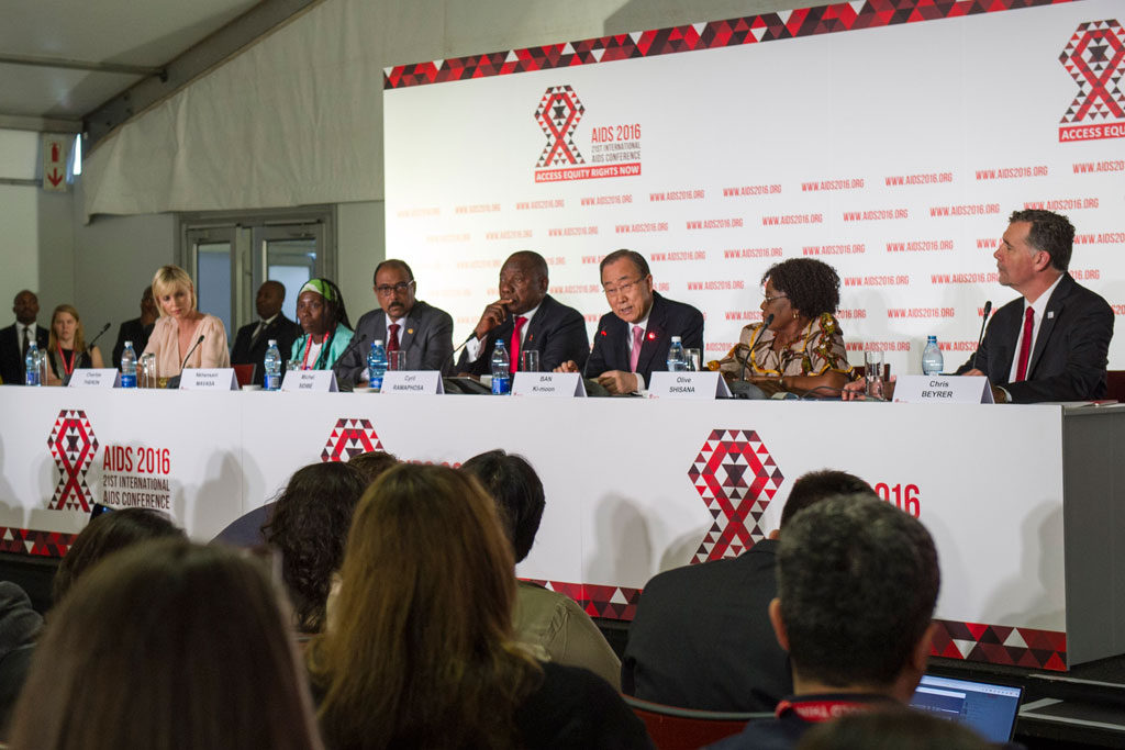 UN Secretary-General Ban Ki-moon addressing the Opening Press Conference of the 21st International AIDS Conference