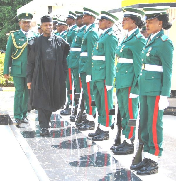 The Vice President,Prof Yemi Osinbajo inspects the guards of honour during the Senior Course 38 graduation ceremony at Jaji,Friday July 1st,2016.