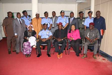 IGP Ibrahim Idris in a group photograph with PSC Chairman, Sir Mike Mbama Okiro, members of the Commission and the Force Management Team