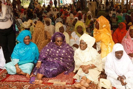 Lagos state deputy Governor, Idiat Oluranti Adebule, with others at Obalende praying ground during the 2016 Eid-el-Fitri celebration in Lagos state.