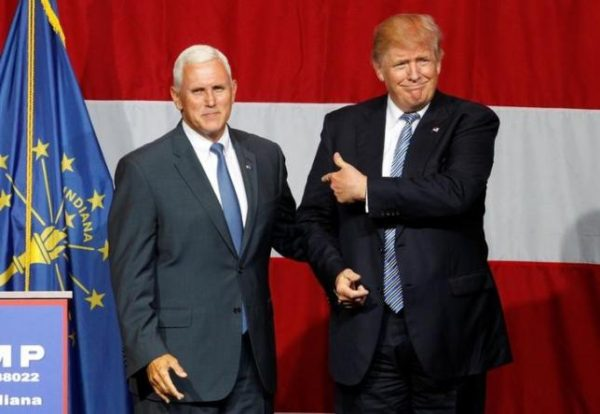 Donald Trump (R) and Indiana Governor Mike Pence (L)