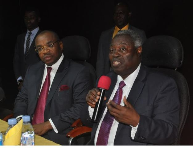 Governor Udom Emmanuel (left) with the General Superintendent, Deeper Christian Life Ministry, Pastor William Kumuyi during the worship of the Governor at the International Bible Training Centre (IBTC), Ayobo in Lagos on Sunday.
