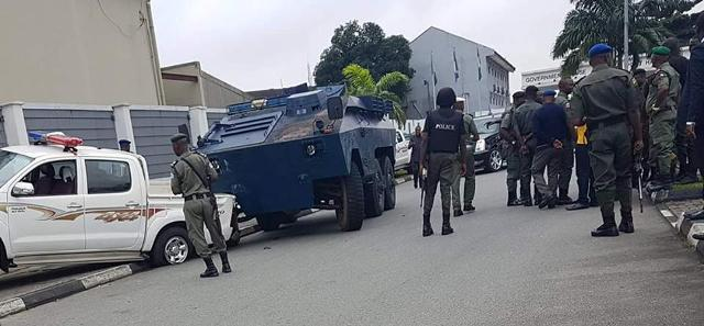 Security agents at Government House PH this morning,   Wednesday August 17