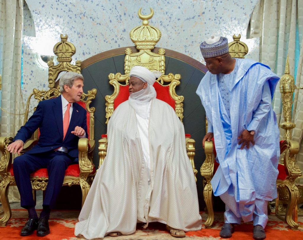 Kerry (left) Sultan and Gov. Tambuwal during earlier visit to Sokoto by the U.S Secretary of State