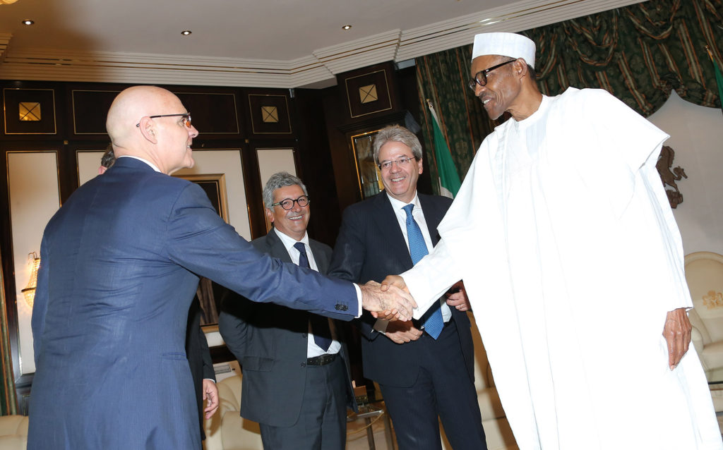 R-L. President Muhammadu Buhari, the Italian Minister of Foreign Affairs and International Cooperation, Mr Paola Gentiloni Silveri and Minister of State Interior, Mr Dott. D. Manzione and Former Italian Ambassador to Brazil, Amb Raffaele Trombetta during an audience at the State house in Abuja. PHOTO; SUNDAY AGHAEZE/STATE HOUSE. AUG 4 2016