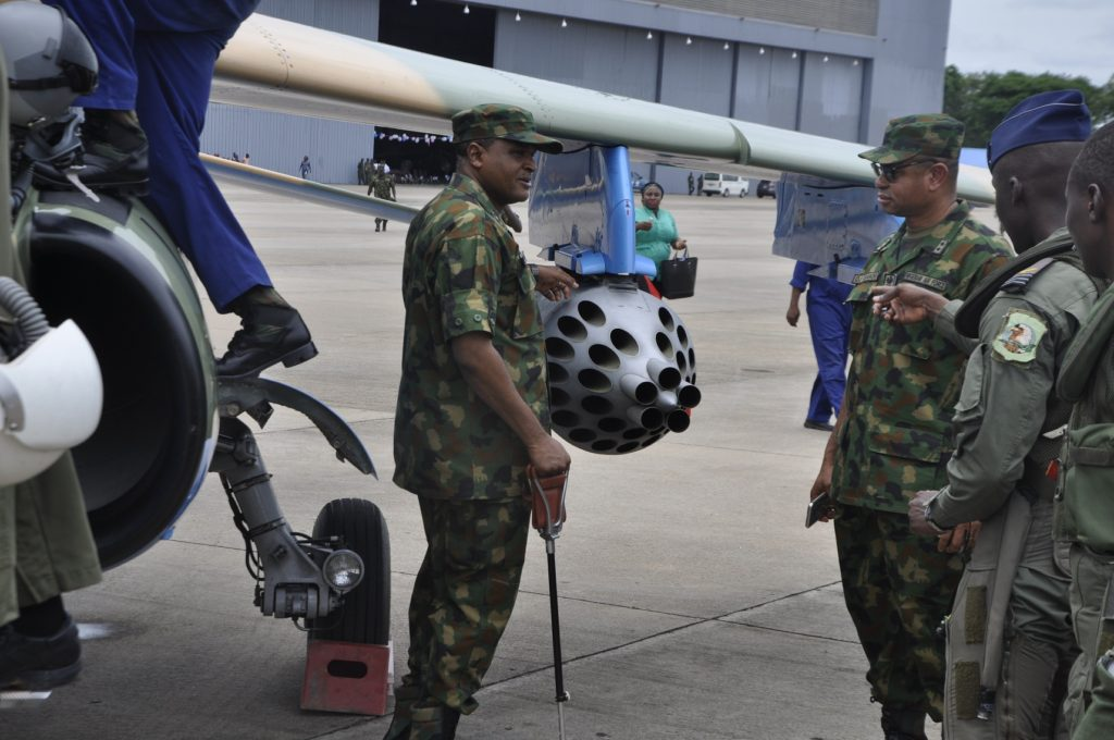 The Chief of the Air Staff, Air  Mshl Sadique Abubakar inspecting the newly weaponized NAF alpha jet after  test flown